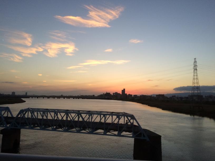 淀川大橋からの夕日