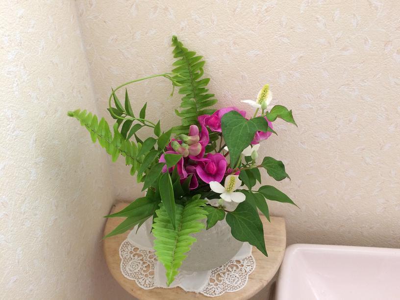 枝スイートピーのトイレの花