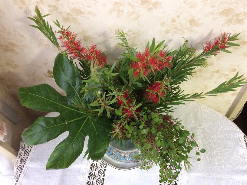 ブラシノキのテーブルの花